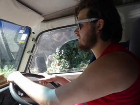 Thomas driving the van