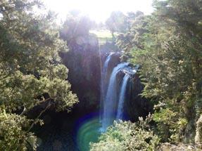 Water fall above sun