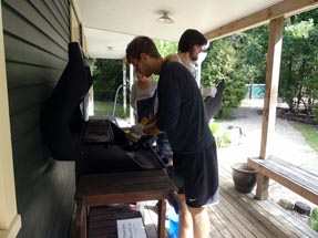 Cleaning the BBQs