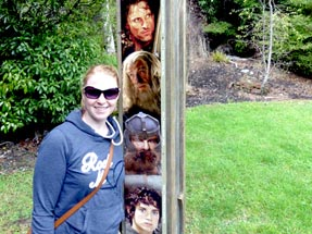 Bianca in front of a Lord of the Rings display