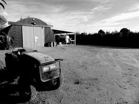 Smoko room and tractor on a sunday