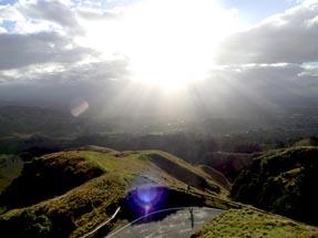 The sun shines on the peak