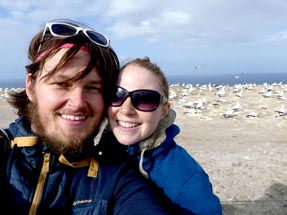 Bianca and Thomas in front of the gannets colony