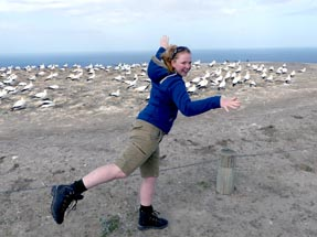 Bianca in front of the gannets colony