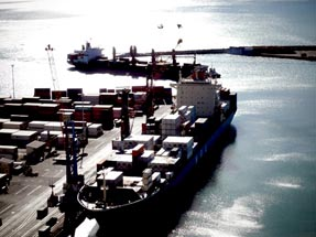 View on the port in Napier with container vessel