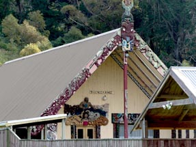 Marae with carving art