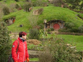 Geli walking Hobbiton