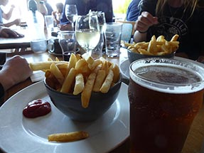Fries and beer in Pub
